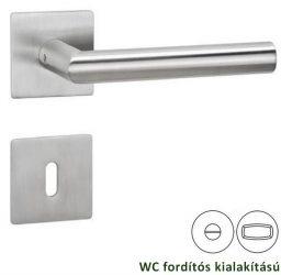 BASIC 02 Négyzet laprozettás kilincsgarnitúra WC, inox