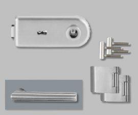 CLASSICO üvegajtó garnitúra, L-Form kilinccsel BB, ezüst