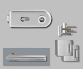 CLASSICO üvegajtó garnitúra, L-Form kilinccsel PZ, ezüst