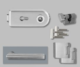 CLASSICO üvegajtó garnitúra, L-Form kilinccsel WC, ezüst