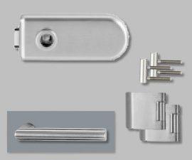 CLASSICO üvegajtó garnitúra, L-Form kilinccsel OL, ezüst