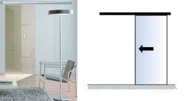 PLANEO 120(G) toló üvegajtó vasalat, matt nikkel