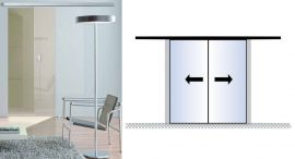 PLANEO 120(G) toló üvegajtó vasalat, ezüst