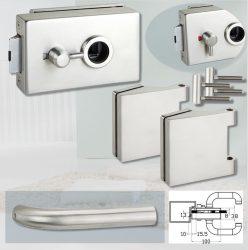 ARCO üvegajtó garnitúra BASIC 03 kilinccsel WC, inox
