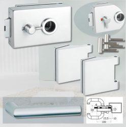 ARCO üvegajtó garnitúra BASIC 02 kilinccsel WC, alu szatén