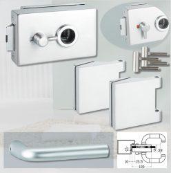 ARCO üvegajtó garnitúra BASIC 03 kilinccsel WC, alu szatén