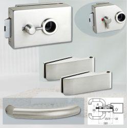 ARCO üvegajtó garnitúra BASIC 04 kilinccsel WC, inox