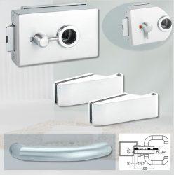 ARCO üvegajtó garnitúra BASIC 04 kilinccsel WC, alu szatén
