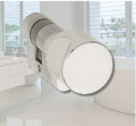 Fordítógombos cilinderbetét üvegajtóhoz, matt nikkel