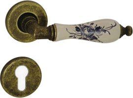 DIÁNA Rozettás kilincsgarnitúra PZ, antikbronz/porcelán