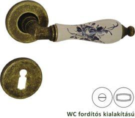 DIÁNA Rozettás kilincsgarnitúra WC, antikbronz/porcelán