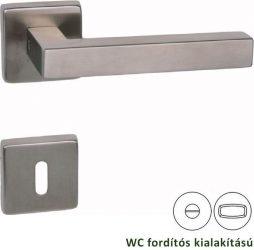 CUBIC Négyzetrozettás kilincsgarnitúra WC, inox