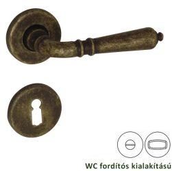 VALENTINA rozettás kilincsgarnitúra WC, bronz antik