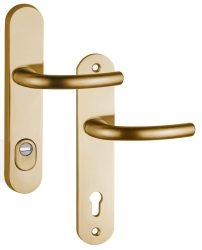 ARNO Biztonsági címes kilincsgarnitúra, cilindervédővel PZ, bronz színű