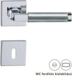 BORNEO négyzetrozettás kilincsgarnitúra WC, króm/nikkel szatén