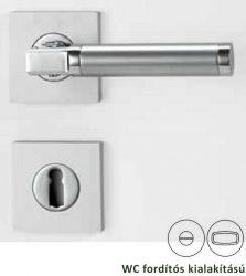 LAURA Négyzetrozettás kilincsgarnitúra WC, króm/szatén alu