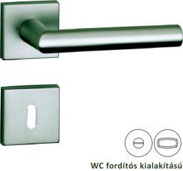 BASIC 02 Négyzetrozettás kilincsgarnitúra WC, alu szatén